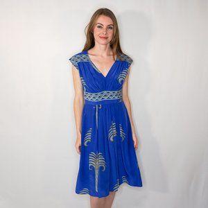 TRACY REESE Vintage Silk Royal Blue Midi Dress